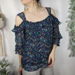 Nanette Lepore Calico silk cold shoulder top 0937